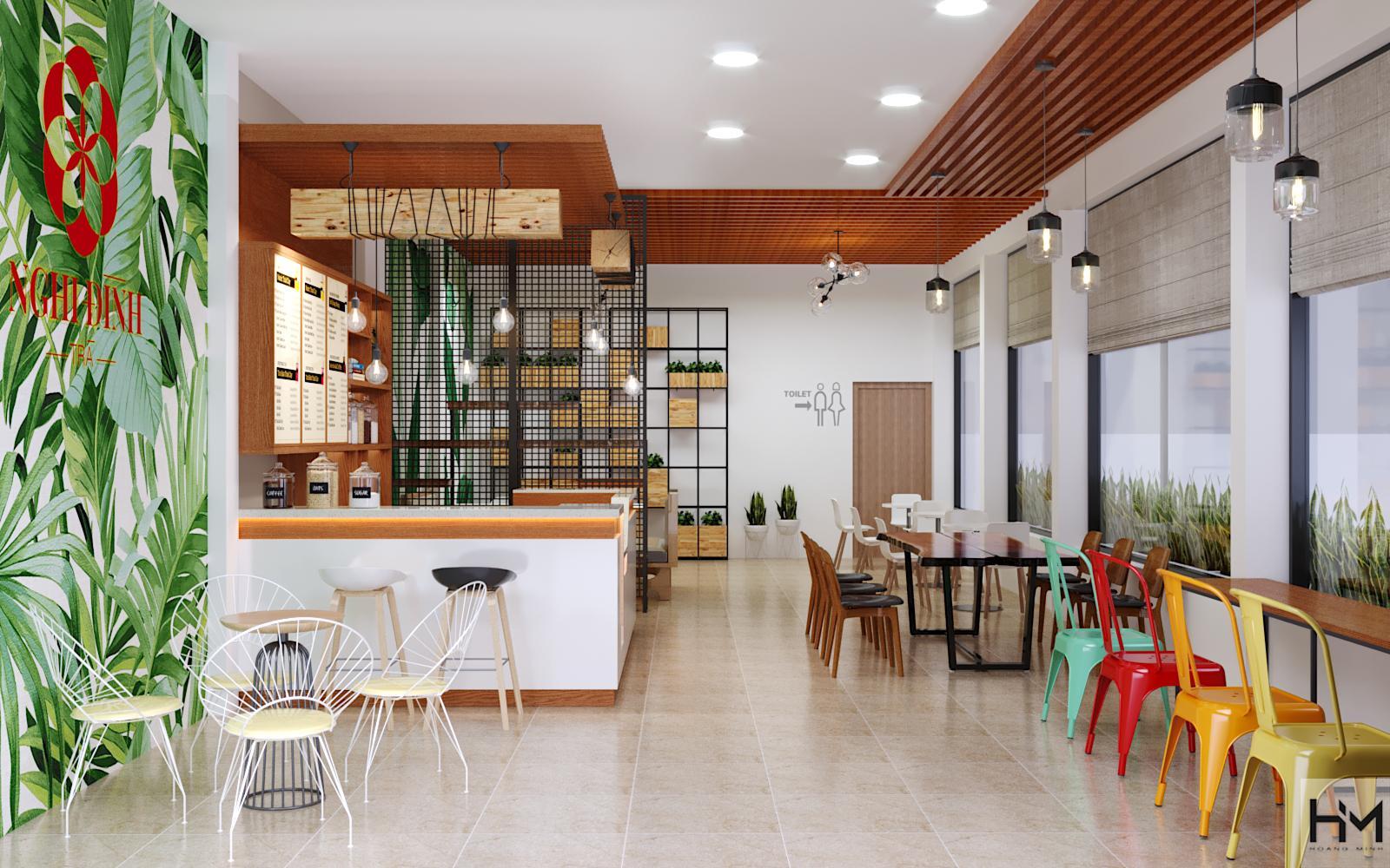 Công ty thiết kế nội thất quán trà sữa đơn giản dịch vụ cao cấp