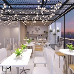 Thiết kế quán trà sữa sân thượng