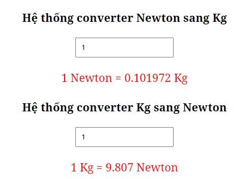1 newton = kg