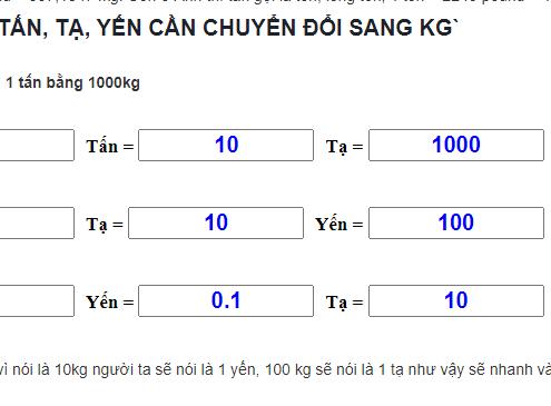 1 tan bang bao nhieu kg