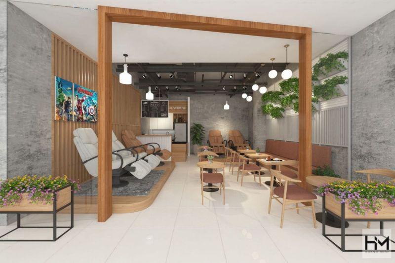 Mo hình thiết kế quán cafe nhỏ kết hợp vỉa hè để mở rộng diện tích sử dụng.