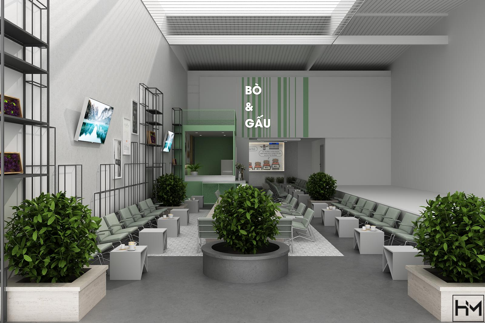 Thiết kế quán Bò & Gấu Coffee 180m2