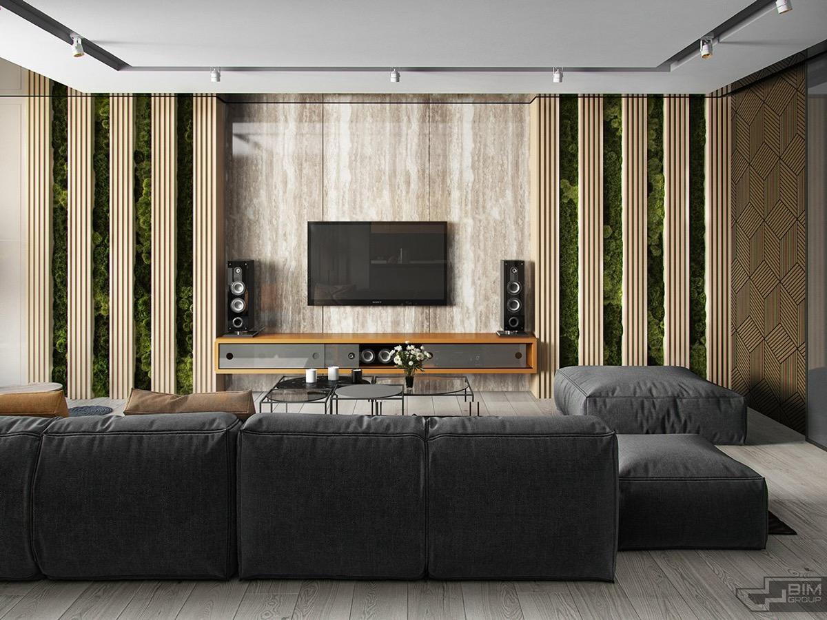 trang trí tường tivi