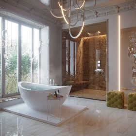 Mẫu thiết kế phòng tắm khách sạn đẹp, tiện nghi, sang trọng.