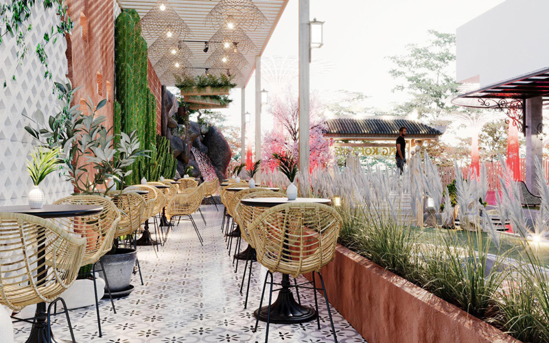 Công ty thiết kế thi công nội thất quán cafe cá Koi không gian riêng tư