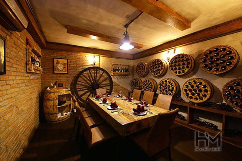 Đơn vị thiết kế thi công nội thất nhà hàng hầm rượu hợp lý