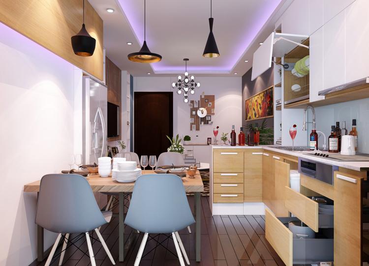 Đơn giá thi công nội thất phòng bếp căn hộ tối ưu công năng